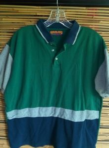 Men's Highland Outfitters Green Blue Polo Sz L